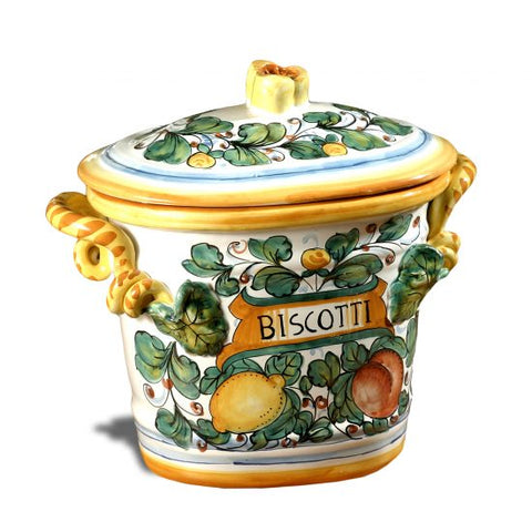 Yellow Lemon Oval Biscotti Jar