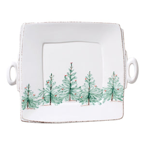 Lastra Holiday Handled Square Platter