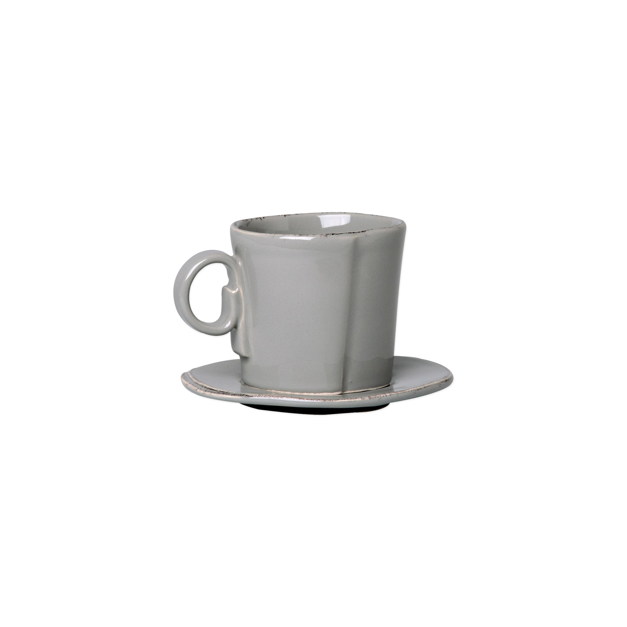 Lastra Espresso Cup and Saucer - Set of 4 - Gray