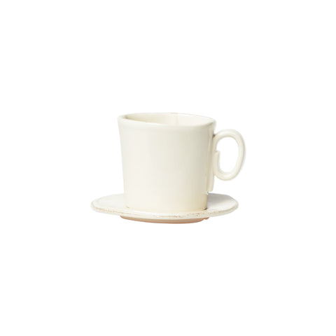 Lastra Espresso Cup and Saucer - Set of 4 - Linen