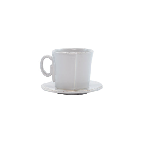 Lastra Espresso Cup and Saucer - Set of 4 - Light Gray