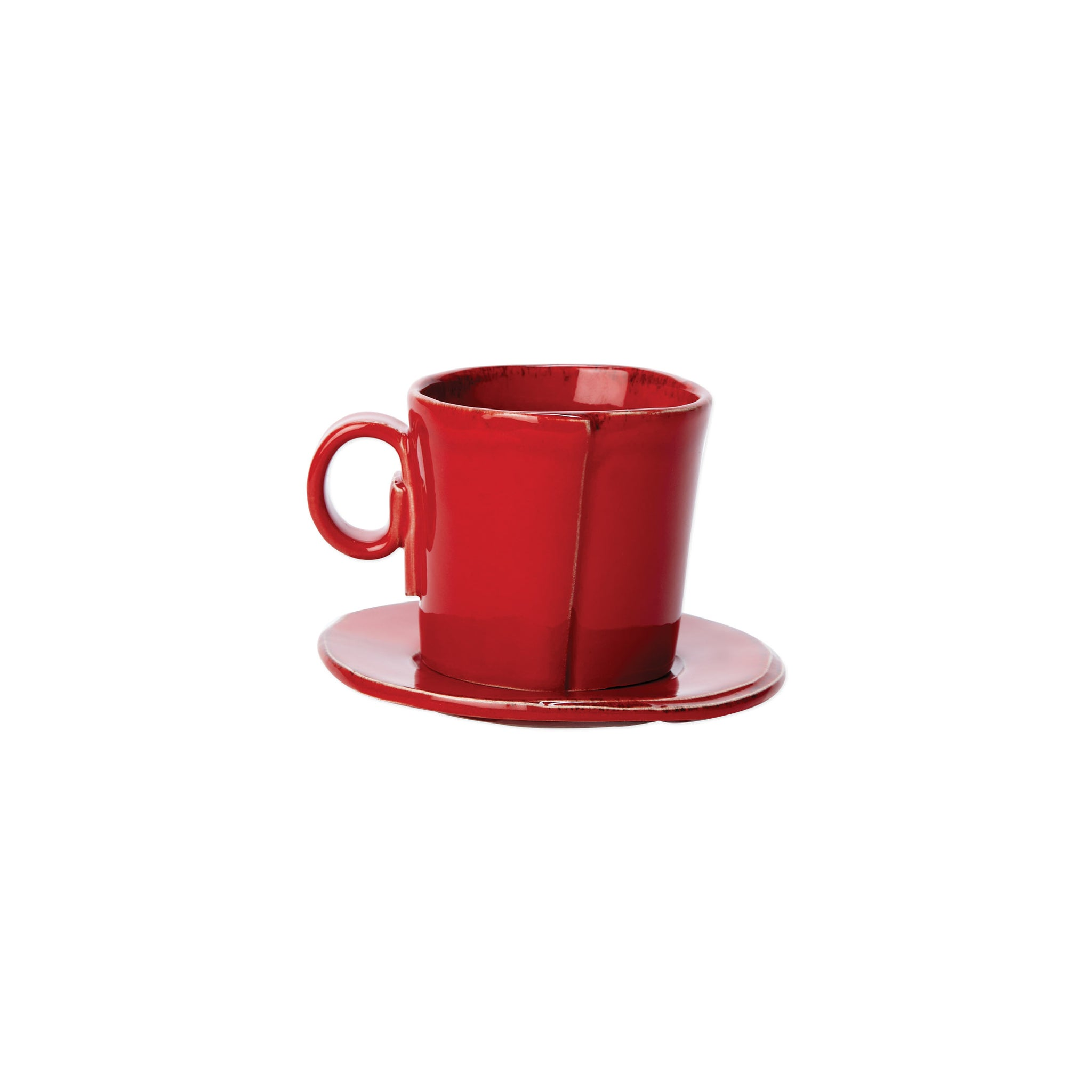 Lastra Espresso Cup and Saucer - Set of 4 - Red