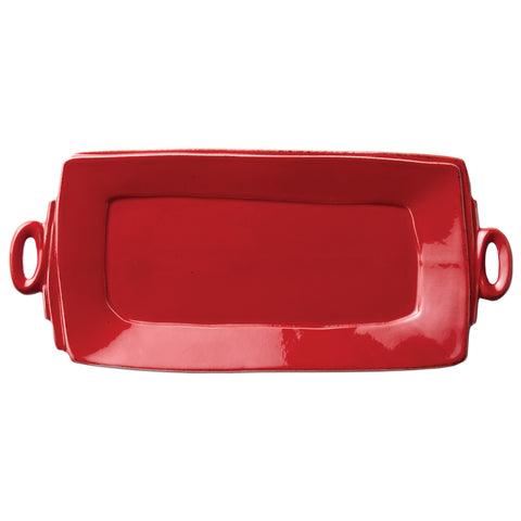 Lastra Handled Rectangular Platter - Red