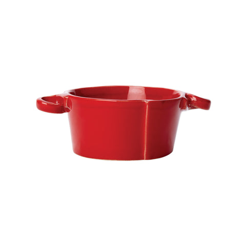 Lastra Small Handled Bowl  - Set of 4 - Red