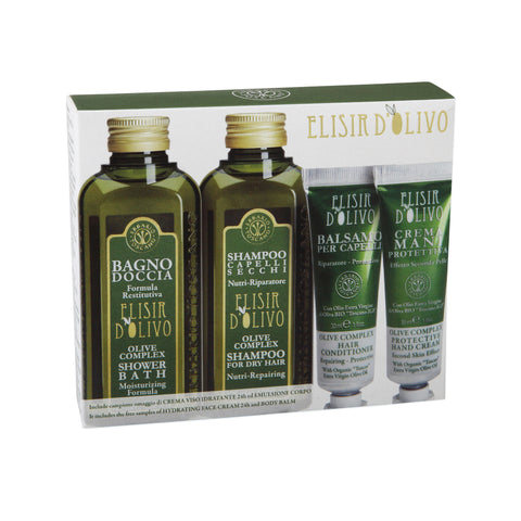 Olive Complex Gift Set - Shower Bath, Shampoo, Conditioner, and Hand cream - Erbario Toscana