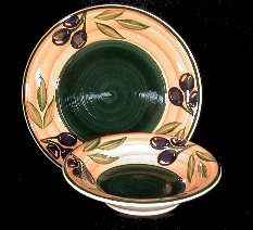 Olive Dinner Plate or Bowl Set of 4