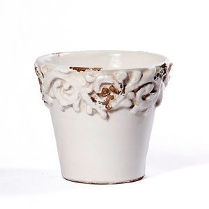 Pompei Antique White Planter - Scroll wrapping traditional white pot
