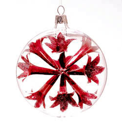 Red Trumpet Ball Ornaments  Set of 2