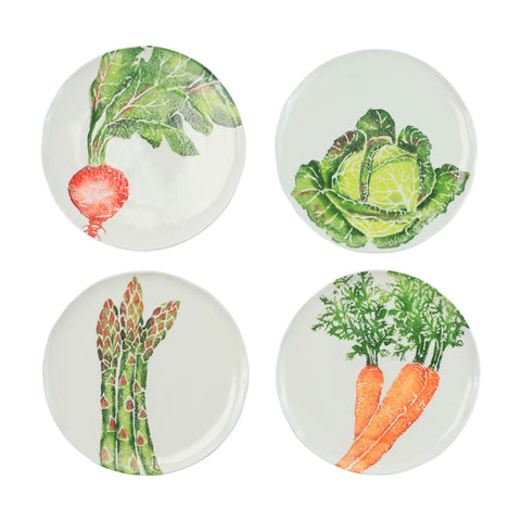 Spring Vegetables Assorted Salad plates  Set of 4
