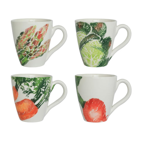 Spring Vegetables Assorted Mugs  Set of 4