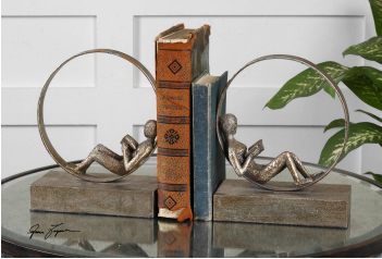 Lounging Reader Bookends - Set of 2