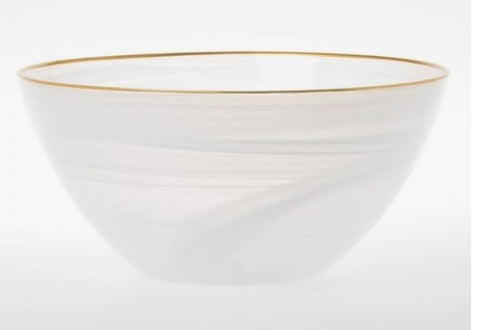 Alabaster White and Gold Large Deep Serving Bowl