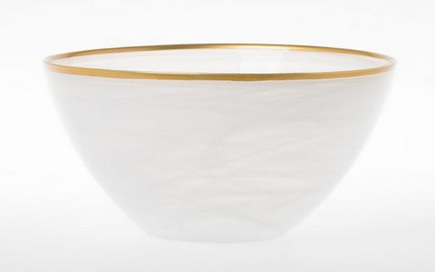 Alabaster White with Gold  Medium Deep Serving Bowl