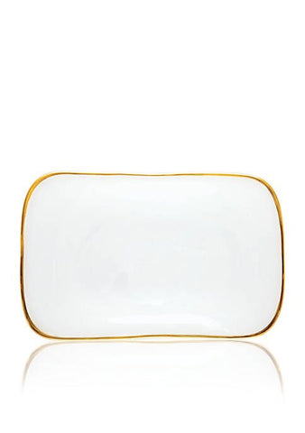 Alabaster White with Gold Edge Rectangle Platter