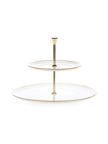 Alabaster White with Gold Edge Two Tiered Server