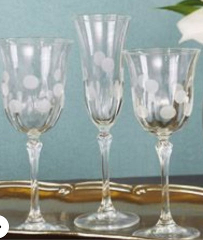 Dot Glasses in your choice of Champagne, or Water  Set of 4