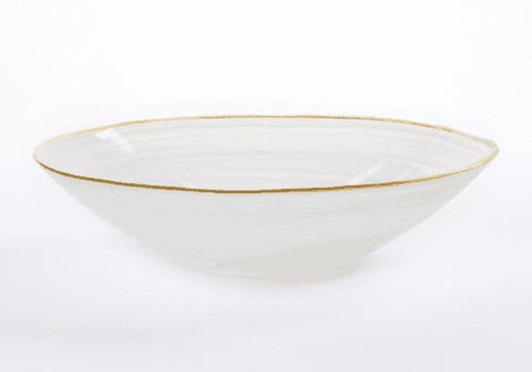 Alabaster White with Gold Edge Serving Bowl