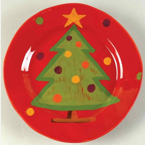 Pallini Red Tree Salad Plate  Set of 4