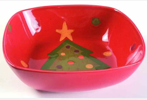 Pallini Red Square Serving Bowl With Tree