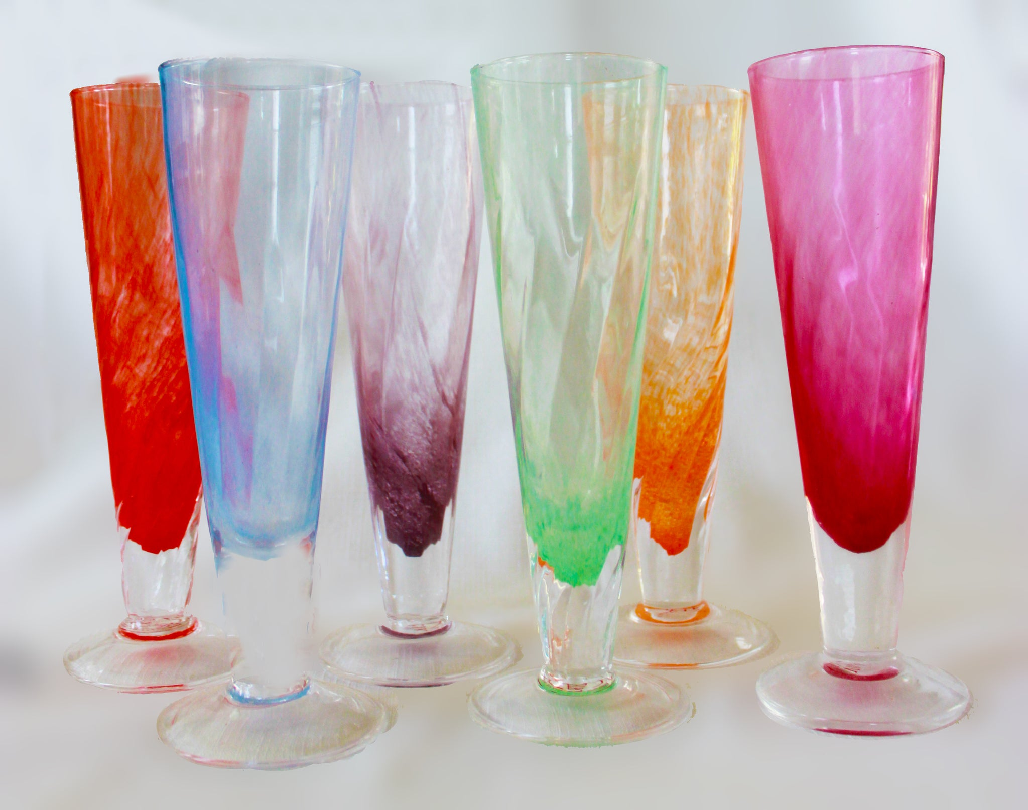Puccinnelli Glass Assorted  Pastel Parfait/Champagne Glasses   Set of 6
