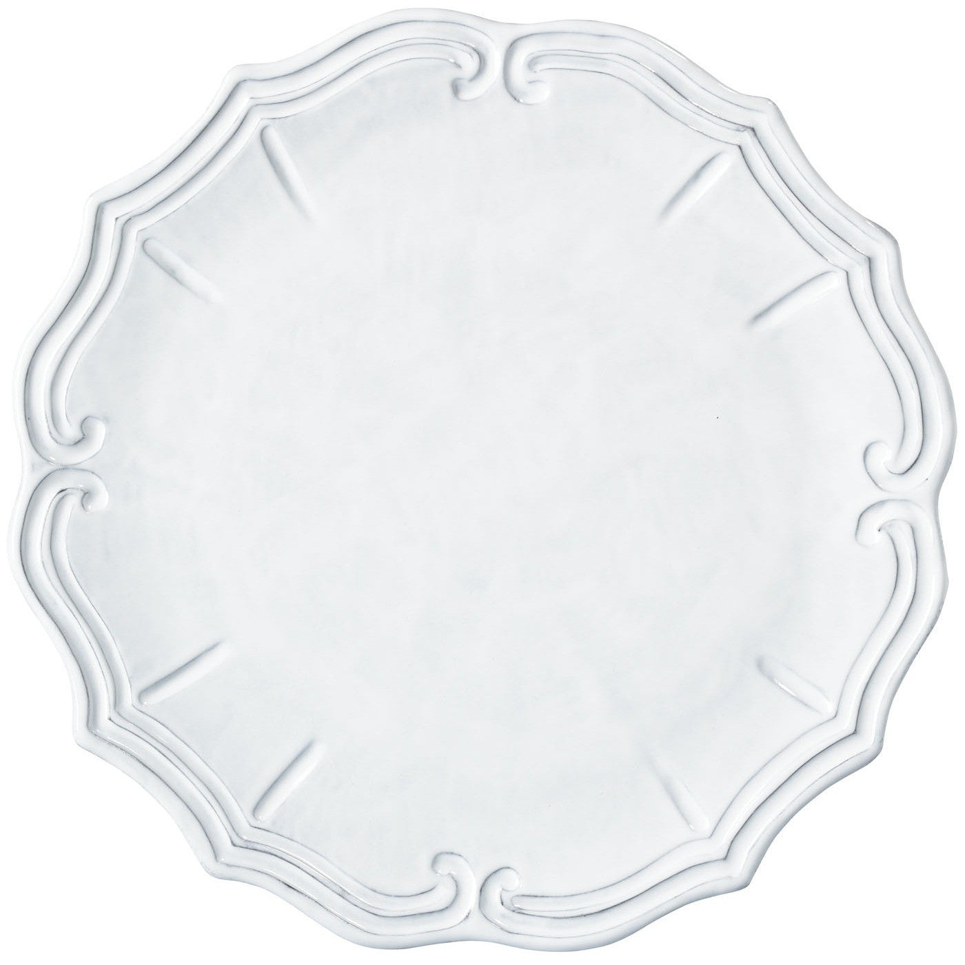 Incanto Baroque White Service Plate/Charger - Set of 4 , tableware - Vietri, Pezzo Bello  - 1