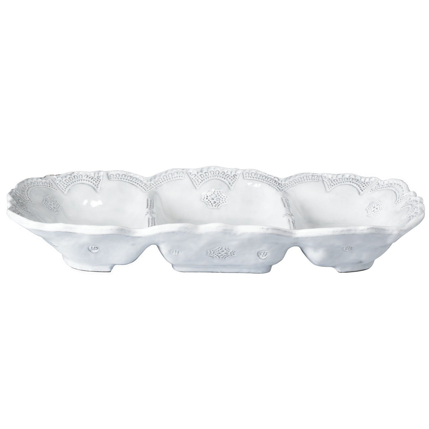 Incanto Lace Medium Three Part Server , tableware - Vietri, Pezzo Bello