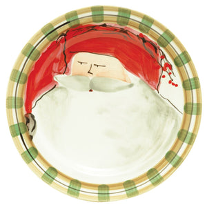 Old St. Nick Red Hat Dinner Plate - Set of 4 Plates , Christmas - Vietri, Pezzo Bello