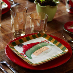 Old St. Nick Green Hat Square Salad Plates - Set of 4 Plates , Christmas - Vietri, Pezzo Bello  - 3