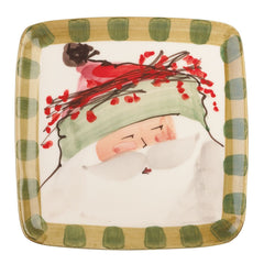 Old St. Nick Green Hat Square Salad Plates - Set of 4 Plates , Christmas - Vietri, Pezzo Bello  - 1