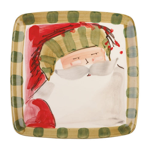 Old St. Nick Square Salad Plate - Set of 4 , Christmas - Vietri, Pezzo Bello