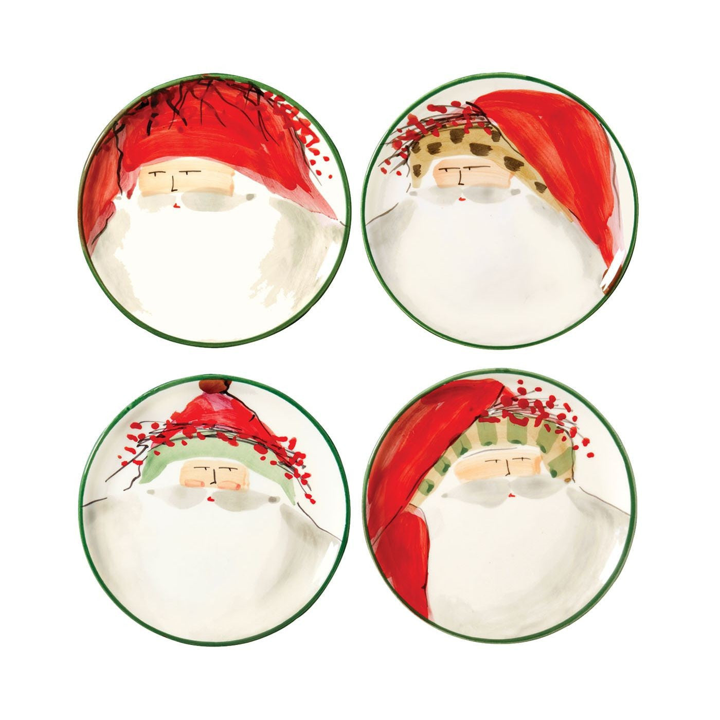 Old St. Nick Assorted Canape Plates - Set of 4 , Christmas - Vietri, Pezzo Bello  - 1