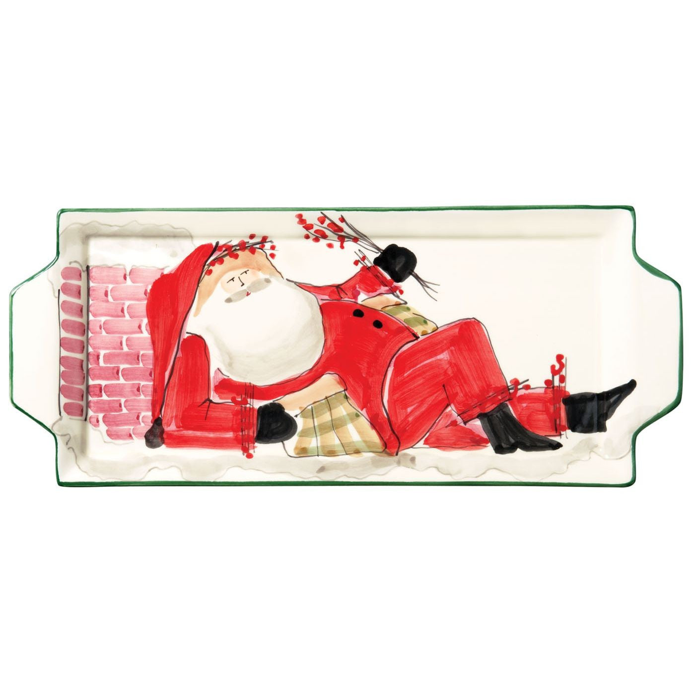 Old St. Nick Handled Rectangular Santa Platter , Christmas - Vietri, Pezzo Bello  - 1