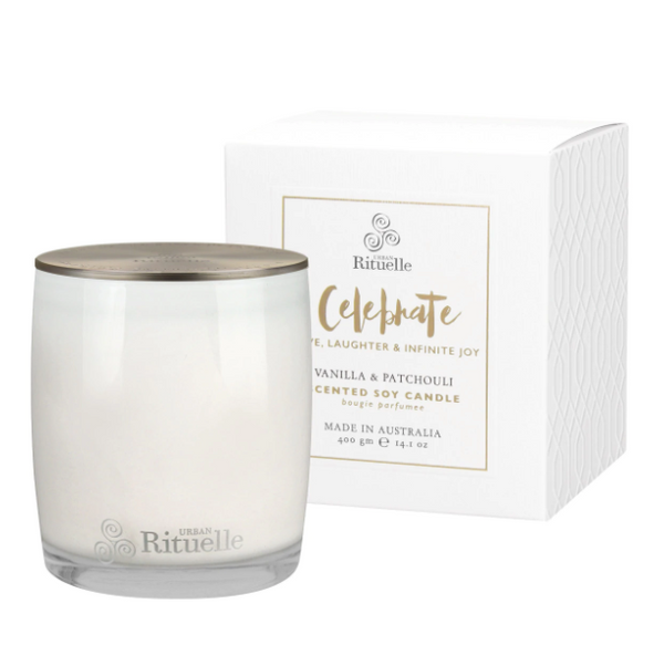 Celebrate • Vanilla & Patchouli Scented Soy Candle - 400g