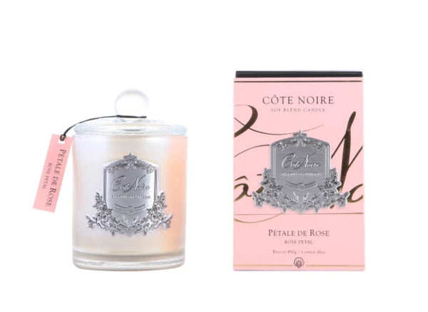 Cote Noire Silver Badge Candles - Rose Petal Fragrance