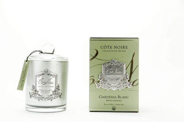 Cote Noire Silver Badge Candles - White Gardenia Fragrance