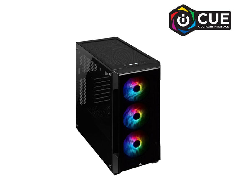 CORSAIR iCUE 220T RGB Tempered Glass Mid-Tower Smart Case, Black (CC-9011190-WW)