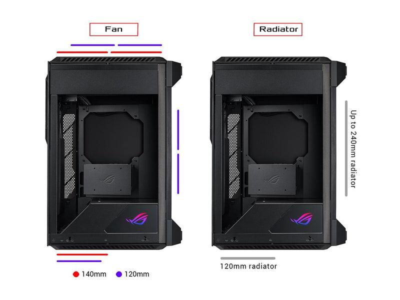 ASUS ROG Z11 Mini-ITX/DTX Mid-Tower PC Gaming Case with Patented 11° Tilt Design, Compatible with ATX Power Supply or a 3-Slot Graphics, Tempered-glass Panels, Front I/O USB 3.2 Gen 2 Type-C, Two USB 3.2 Gen 1 Type-A and ARGB Control Button