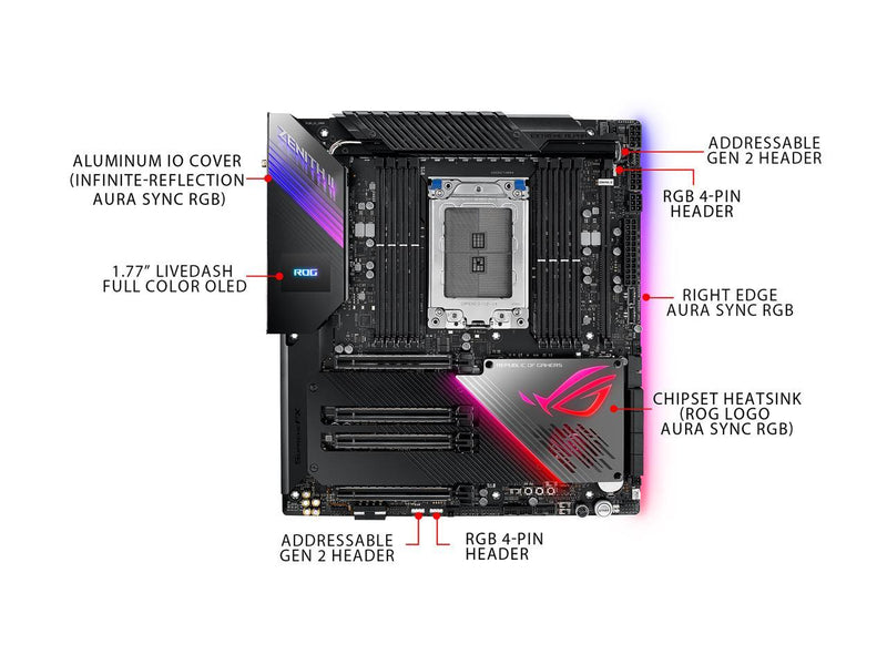 ASUS ROG Zenith II Extreme Alpha TRX40 Gaming AMD 3rd Gen Ryzen Threadripper sTRX4 EATX Motherboard with 16 Infineon Power Stages, PCIe 4.0, Wi-Fi 6 (802.11ax), 10Gbps Ethernet, 5 x M.2, 8 x SATA, USB 3.2 Gen 2x2 and Aura Sync RGB