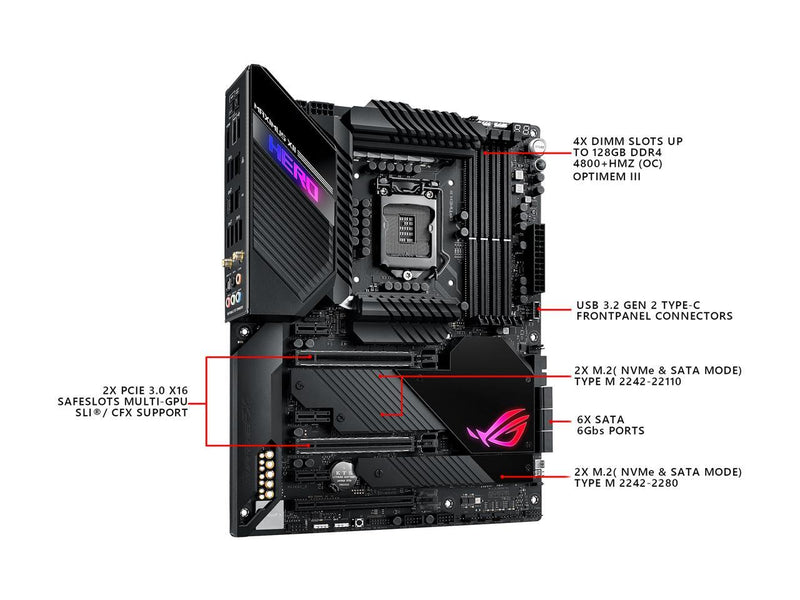 ASUS ROG MAXIMUS XII HERO (WI-FI) LGA 1200 (Intel 10th Gen) Intel Z490 (WiFi 6) SATA 6Gb/s ATX Intel Motherboard (14+2 Power Stages, DDR4 4800+, 5Gbps LAN, Intel LAN, Bluetooth v5.1, Triple M.2, Aura Sync)