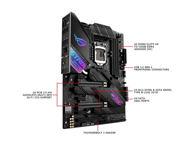 ASUS ROG STRIX Z490-E GAMING LGA 1200 (Intel 10th Gen) Intel Z490 (WiFi 6) SATA 6Gb/s ATX Intel Motherboard (14+2 Power Stages, DDR4 4600, Intel 2.5 Gb Ethernet, Bluetooth v5.1, Dual M.2 and AURA Sync)