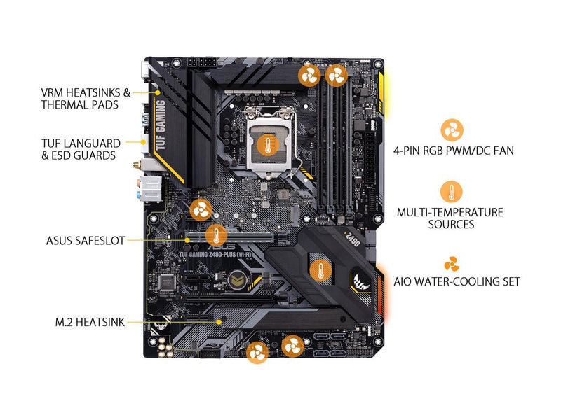 ASUS TUF GAMING Z490-PLUS (WI-FI) LGA 1200 (Intel 10th Gen) Intel Z490 (WiFi 6) SATA 6Gb/s ATX Intel Motherboard (Dual M.2, 12+2 Power Stages, USB 3.2 Front Panel Type-C, Intel WiFi 6 & 1Gb LAN, Aura Sync)