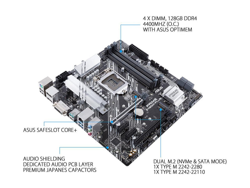 ASUS PRIME Z490M-PLUS LGA 1200 (Intel 10th Gen) Intel Z490 SATA 6Gb/s Micro ATX Intel Motherboard (Dual M.2, DDR4 4400, 1Gb Ethernet, USB 3.2 Gen 2 USB Type-A, Aura Sync RGB)