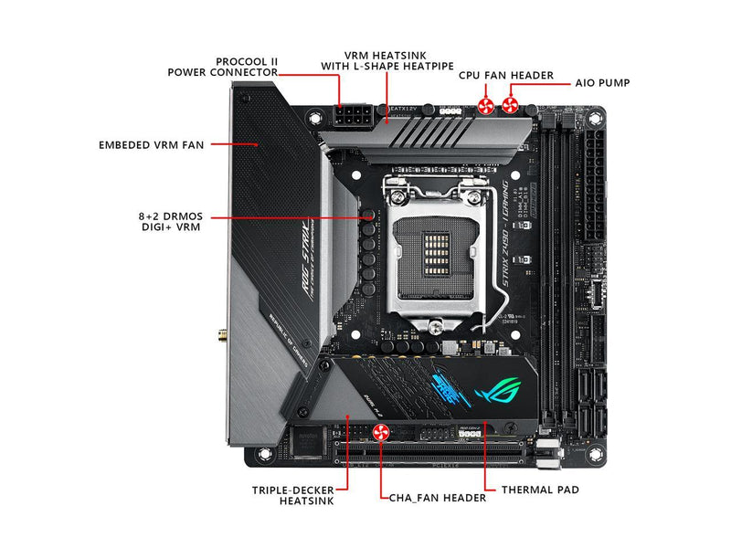 ASUS ROG STRIX Z490-I GAMING (WiFi 6) LGA 1200 (Intel 10th Gen) Intel Z490 SATA 6Gb/s Mini ITX Intel Motherboard (8+2 Power Stages, DDR4 4800, Intel 2.5Gb Ethernet, USB 3.2 Front Panel Type-C, HDMI 2.0a and AURA Sync)