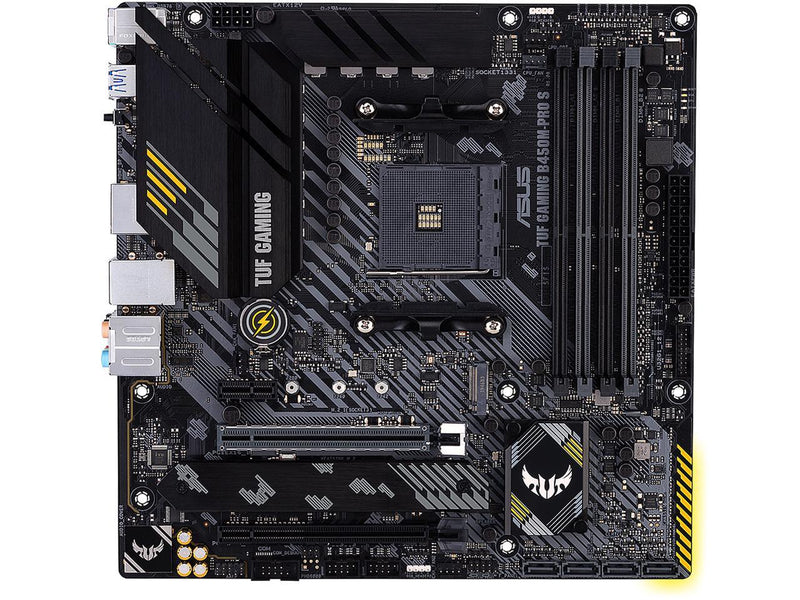 ASUS TUF GAMING B450M-PRO S AMD AM4 (3rd Gen Ryzen) Micro ATX Gaming Motherboard (8+2 DrMOS Power Stages, 2.5Gb LAN, BIOS FlashBack, AI Noise-Canceling Microphone, USB 3.2 Gen 2 Type-A and Type-C, HDMI, DP, and AURA Sync RGB)