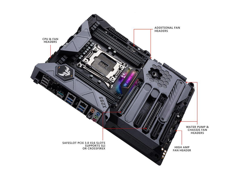ASUS TUF X299 MARK I LGA2066 DDR4 M.2 USB 3.1 DUAL LAN X299 ATX Motherboard for Intel Core i9 and i7 X-Series Processors