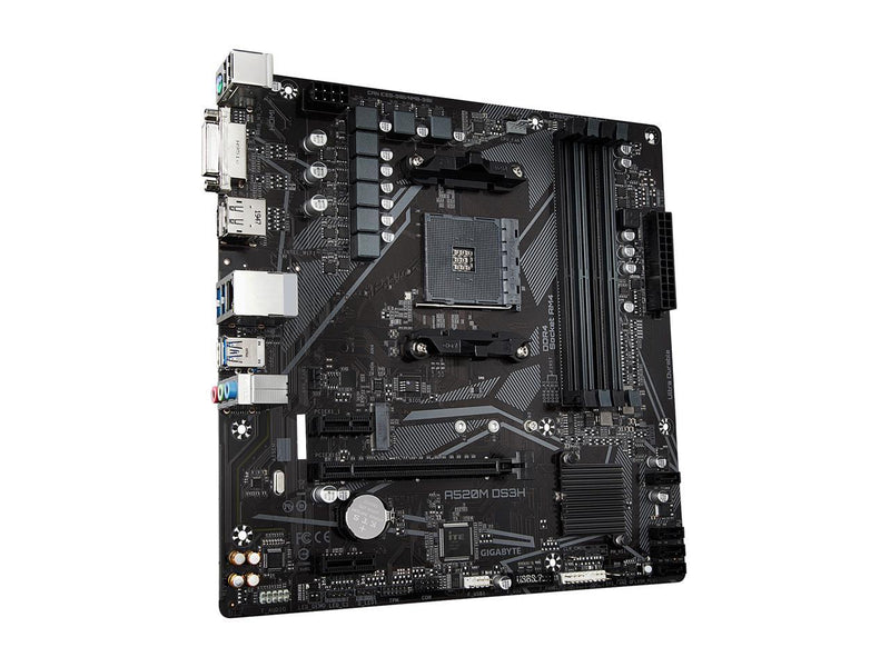 GIGABYTE A520M DS3H mATX AM4 5+3 Phases Digital PWM, GIGABYTE Gaming GbE LAN, NVMe PCIe 3.0 x4 M.2, 3 Display Interfaces, Q-Flash Plus, RGB Fusion 2.0, Motherboard