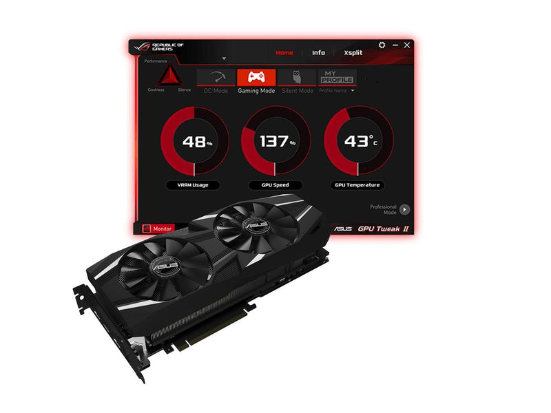 ASUS Dual GeForce RTX 2080 Ti DirectX 12 DUAL-RTX2080TI-O11G 11GB 352-Bit GDDR6 PCI Express 3.0 HDCP Ready SLI Support Video Card