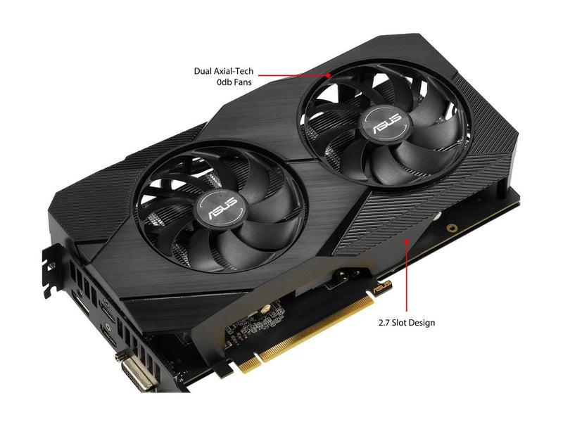 ASUS GeForce GTX 1660 Super Overclocked 6GB Dual-fan EVO Edition VR Ready HDMI DisplayPort DVI Graphics Card (DUAL-GTX1660S-O6G-EVO)