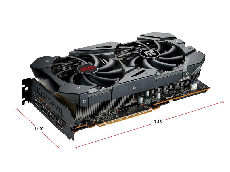 PowerColor RED DEVIL Radeon RX 5600 XT DirectX 12 AXRX 5600XT 6GBD6-3DHE/OC 6GB 192-Bit GDDR6 PCI Express 4.0 CrossFireX Support ATX Video Card