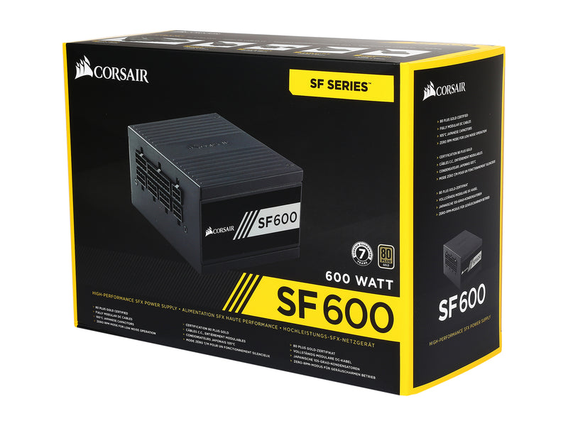 CORSAIR SF Series SF600 600W 80 PLUS GOLD Active PFC Haswell Ready SFX SFX12V Micro ATX Full Modular Power Supply CP-9020105-NA